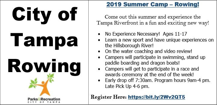 City of Tampa Rowing 2019 Summer Camp