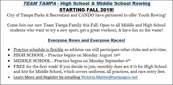 City of Tampa Fall 2019High School and Middle School Rowing